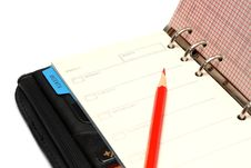Free Open Black Organizer And Red Pencil Royalty Free Stock Photos - 4535388