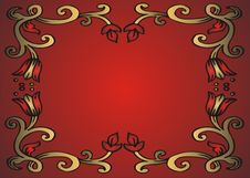 Free Golden Frame On Red Background Stock Image - 4537371