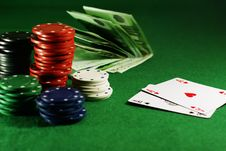 Free Two Aces On The Green Table Royalty Free Stock Images - 4537619