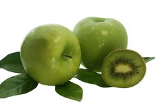 Free Two Green Apples And Half Of Kiwi Fruit Royalty Free Stock Photo - 4537645