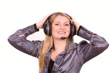 Pretty Blond Woman With Headset Stock Photos