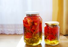 Free Two Glass Jars With Marinated Tomatoes Homemade Royalty Free Stock Photo - 45301985