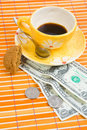 Free 3 Dollars And 50 Cent Pay For Coffee And Cookies Stock Image - 4542941