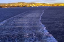 Wake Of A Ship Leaving Oslo Stock Photography