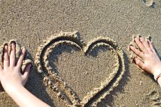 Free Heart On The Beach Royalty Free Stock Photography - 4540517
