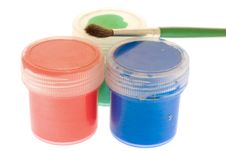 Free Jars With Paint Of Three Colors Stock Image - 4541231