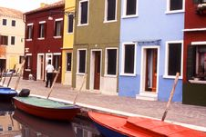Colorful Houses In Burano, Venice - Italy Stock Photos