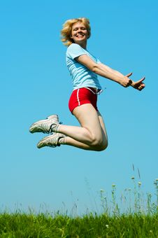 Free Woman Jump Outdoor Stock Images - 4542824