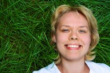 Free Woman Lie On Grass Royalty Free Stock Photography - 4542967