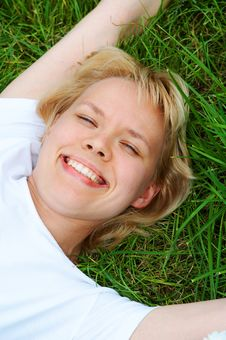 Free Woman Lie On Grass Stock Photo - 4542970