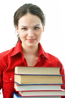 Free Woman With Pile Books Royalty Free Stock Photography - 4542997
