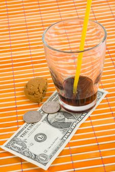Free One Dollar And 50 Cent Pay For Drink And Cookies Stock Photo - 4543090