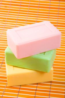 Free Soap On The Bamboo Table-cloth Royalty Free Stock Photos - 4543288