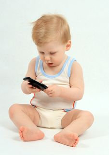 Free The Child With Phone Royalty Free Stock Photo - 4543825