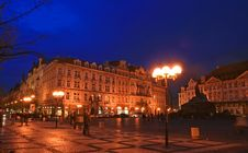 The Old Town Square At Night Royalty Free Stock Photography