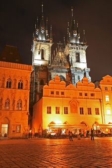 The Old Town Square At Night Stock Images