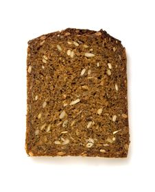 Free One Slice Of Whole-grain Dark Bread Royalty Free Stock Photos - 4545848