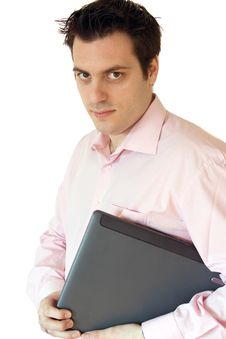 Free Man Carrying His Laptop Royalty Free Stock Photo - 4545915
