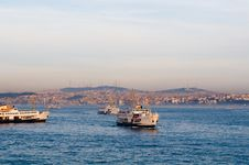 Ferryboats In The Bosphorus Stock Photo