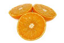 Cutting Three Oranges Royalty Free Stock Photo