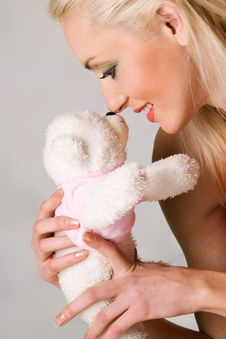 Free Nice Caucasian Woman With Teddy Bear Royalty Free Stock Photography - 4546627