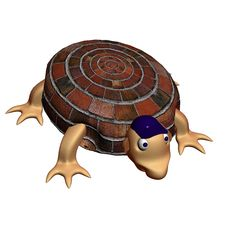 Freakish Turtle On A White Background. 3D Royalty Free Stock Photos