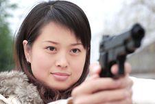 Killer With A Gun Royalty Free Stock Photo