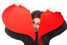 Free Woman Tearing Big Red  Heart Stock Photography - 4548362