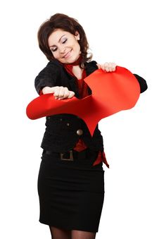 Free Woman Tearing Red Peper Heart Royalty Free Stock Image - 4548386