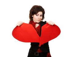 Free Woman Tearing Big Red Peper Heart Royalty Free Stock Photo - 4548435