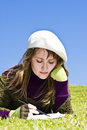 Free Woman Painting On The Grass Stock Image - 4550181