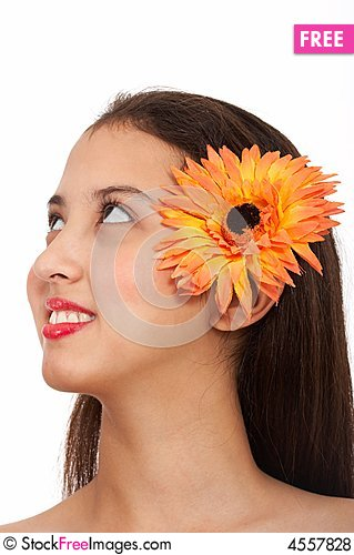 Free Beautiful Lady With Flower Royalty Free Stock Photos - 4557828