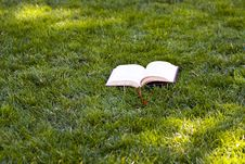 Free Book In The Grass Stock Image - 4550001