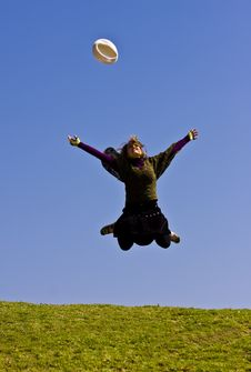 Free Young Woman Jumping Royalty Free Stock Images - 4550229