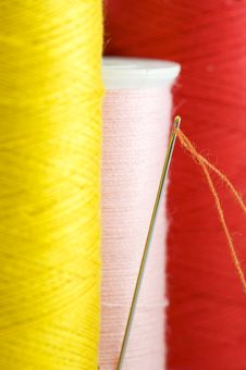 Threads In Yellow, Pink And Red Close Up. Royalty Free Stock Photo