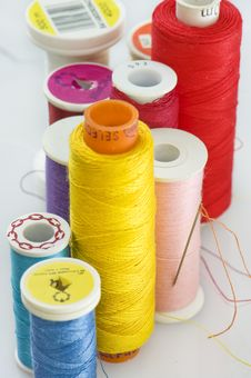 Close Up Of Different Colors Of Thread. Stock Images