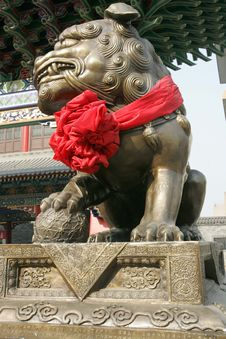 Chinese Ancient Lion Sculpture Royalty Free Stock Photography