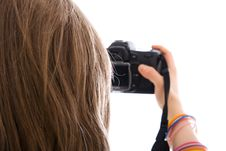 Free The Young Beautiful Girl With The Camera Isolated Stock Images - 4552024
