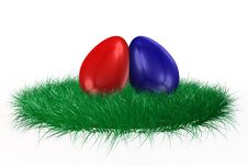 Free Red And Blue Egg On Grass Royalty Free Stock Photo - 4552495