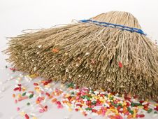 Free Straw Broom Laying Down With Debris Stock Photos - 4552823