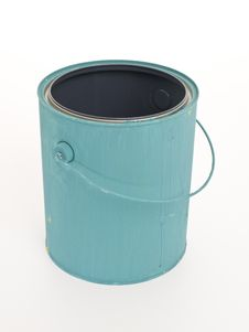 Blue Gallon Paint Can From Above Stock Photography