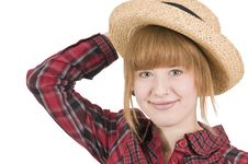 Girl With Hand On Hat Royalty Free Stock Photography