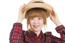 Free Girl With Hand On Hat In Front Stock Photos - 4552863
