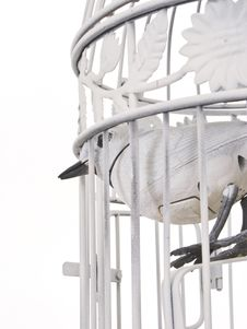 Free Mechanical Bird Looking Of Cage From Behind. Royalty Free Stock Photography - 4552937