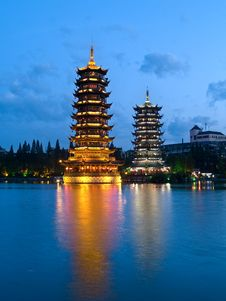 Free Pagodas In Banyan Lake In Down Stock Image - 4553341