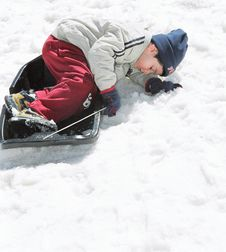 Free Boy On Sled Stock Photos - 4553513