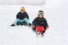Free Children On Sled Stock Photo - 4553640
