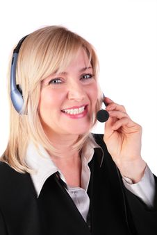 Middleaged Woman With Headset 2 Stock Photo