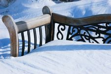 Abandoned Bench After A Snow Storm Stock Photography