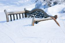 Snow Covered Bench Stock Photos